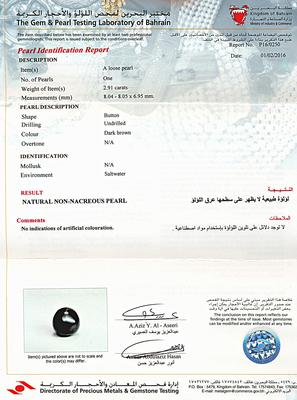 Natural Basra Pearl Pendant with Diamonds 8mm - Certificate