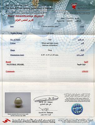 Natural Basra Pearl Ring 1+ carat 18k Gold - Certicate