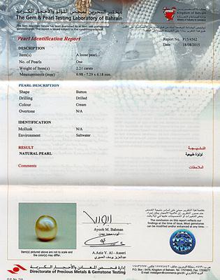 Natural Basra Pearl Ring 2+ carats 18k Gold - certificate