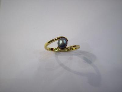 Natural Basra Pearl Ring Silver Grayish 18k Gold