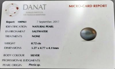 Certificate Natural Basra Pearl Ring Silver Grayish 18k Gold