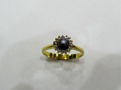 Natural Basra Pearl Ring with Diamonds