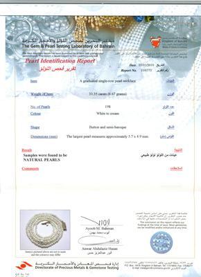 Natural Basra Pearl Strand - Certificate