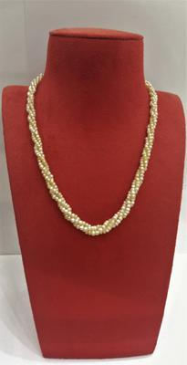 Natural Basra Pearl Three Row Twisted Necklace