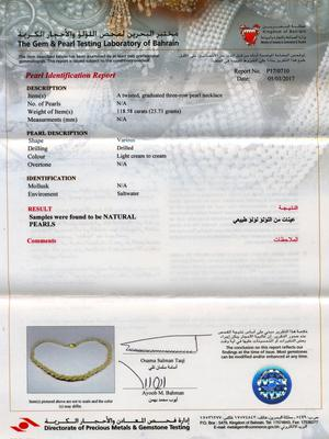 Certificate: Natural Basra Pearl Three Row Twisted Necklace