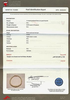 Certificate - Natural Basra Pearl Twist Bracelet - Persian Gulf Pearls