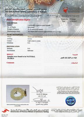Certificate - Natural Basra Pearls Bracelet