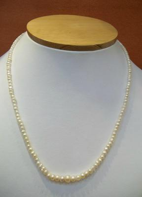 Natural Basra Pearls in a Single Strand Necklace