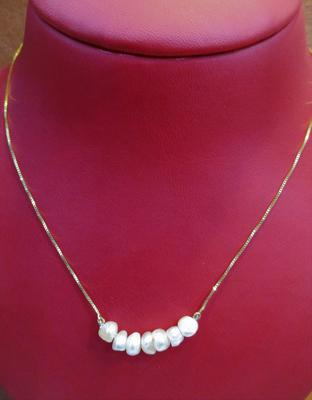 Natural Basra Pearls Necklace 8 Pearls on 18k Gold Chain