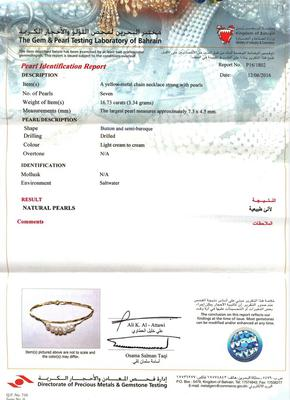 Certificate - Natural Basra Pearls Necklace 8 Pearls on 18k Gold Chain