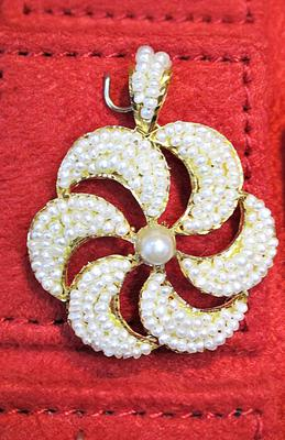 Natural Basra Persian Gulf Seed Pearls Pendant