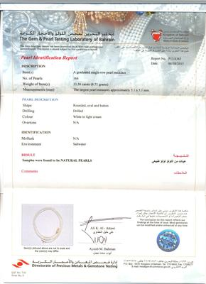 Natural Basra Saltwater Pearl Necklace Strand Certificate