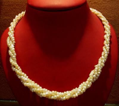 Natural Basra Seed Pearl and Gold Necklace