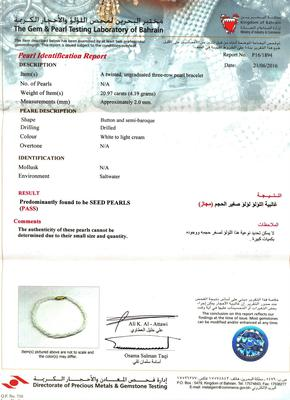 Certificate Natural Basra Seed Pearls Bracelet 18k Gold Clasp