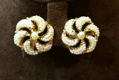 Natural Basra Seed Pearls Earrings from Persian Gulf