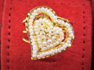 Natural Basra Seed Pearls Ring Heart Shape 21k Gold