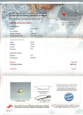 Natural Basra Single Pearl Certificate