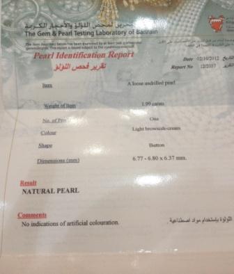 Natural Black Pearl 1.99 carat Certificate