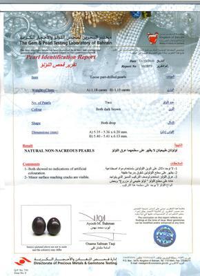 Natural Chocolate Basra Pearl Earrings - Certificate