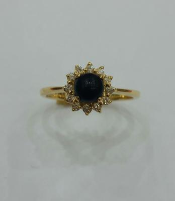Natural Dark Brown Basra Pearl Ring with Diamonds