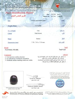 Natural Dark Brown Pearl with Diamonds - Certificate