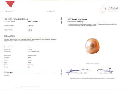 Certificate Natural Loose 2 carat Arabian/Persian Gulf Pearl