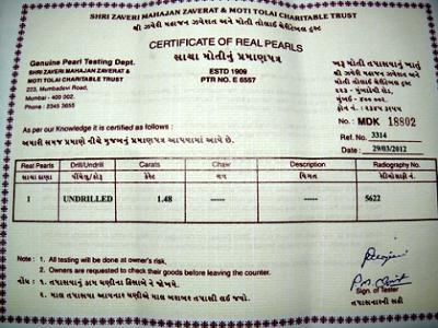1.48 carat natural pearl certificate