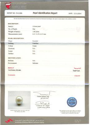 1.60 ct loose Basra pearl certificate