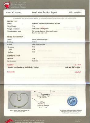 Certificate for 70.45ct natural pearl necklace