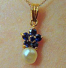 Natural Pearl with Sapphires
