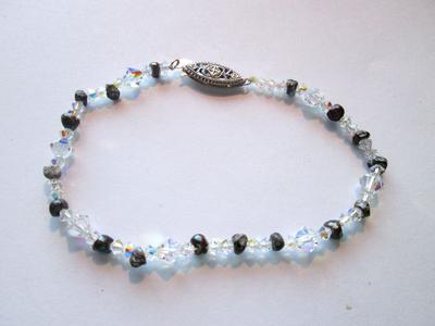 Natural Pearl Bracelet Black Pearls with Swarovski Crystal Beads