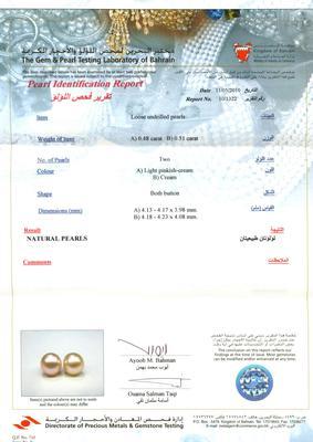 Natural Pearl Earrings - Certificate