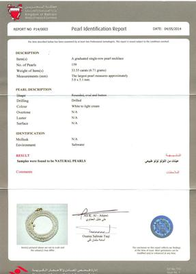 Natural Pearl Necklace at 33.55 Carat - Certificate