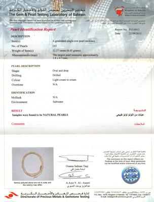 Natural Pearl Necklace Basra Pearls from Persian Gulf - 32 carats - certificate