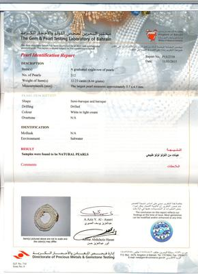 Natural Pearl Necklace of Basra Pearls - certificate
