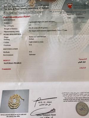 Certificate - Natural Pearl Neclace Button & Semi-Baroque 252 Carats