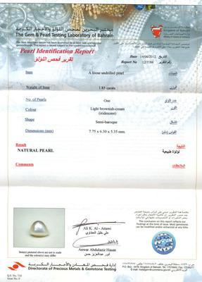 Natural Pearl Pendant - 18K Gold Certificate