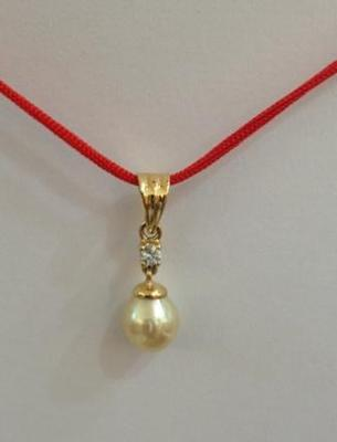 Natural Basra Pearl Pendant with Diamond