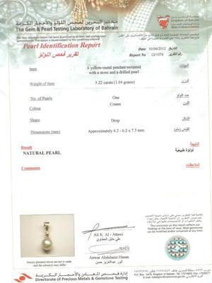 Natural Basra Pearl Pendant with Diamond Certificate