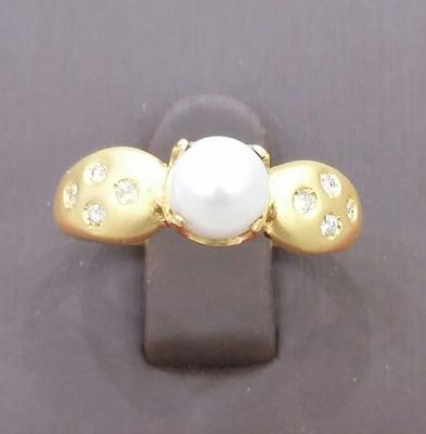 Natural Pearl Ring 2 carat Basra Pearl 18K Gold