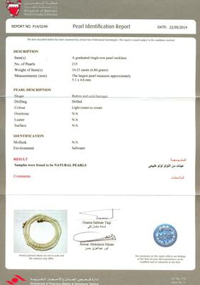 34.23 Carat Natural Basra Pearl Necklace - certificate