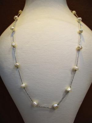 Natural Pearls Strung with 18k White Gold Chain