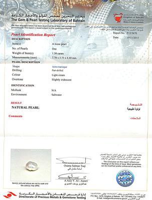 Certificate - Natural Persian Gulf Basra Pearl Pendant