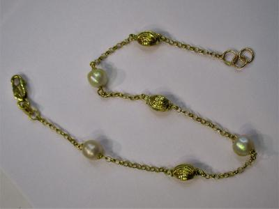 Natural Persian Gulf Basra Pearls 5mm Bracelet 18k Gold