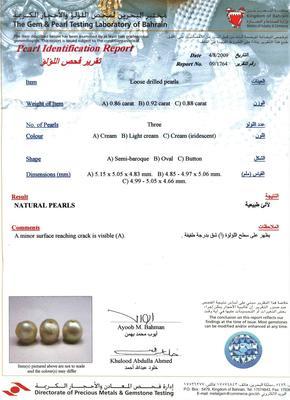 Certificate Natural Persian Gulf Basra Pearls 5mm Bracelet 18k Gold