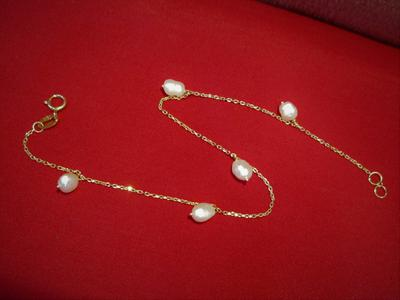 Natural Persian Gulf Basra Pearls Bracelet on 18k Gold