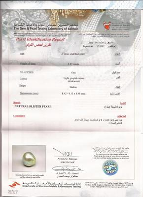 Natural Persian Gulf Pearl at 4.47ct - Certificate