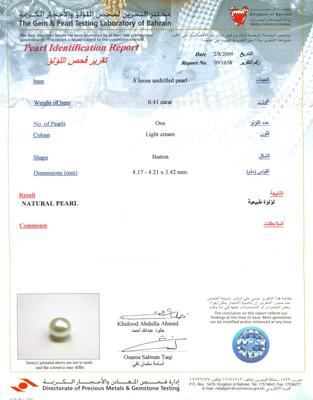 Natural Persian Gulf Pearl in 18K Gold Heart Pendant - Certificate