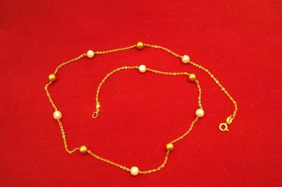 Natural Persian Gulf Pearl Necklace on 18K Gold
