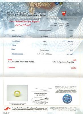 Natural  Persian Gulf Pearl Pendant Certificate